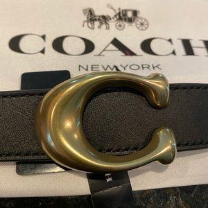 Coach Signature Buckle Reversible Belt